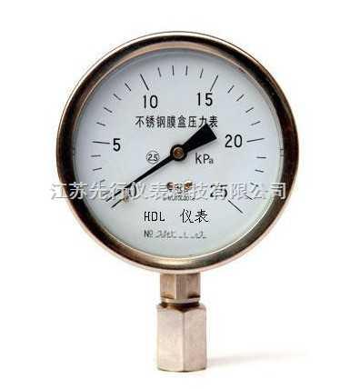 YE系列不銹鋼膜盒壓力表